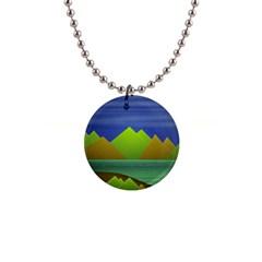 Landscape  Illustration Button Necklace