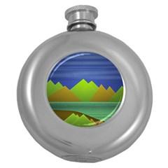 Landscape  Illustration Hip Flask (round)