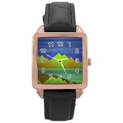 Landscape  Illustration Rose Gold Leather Watch