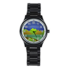 Landscape  Illustration Sport Metal Watch (Black)
