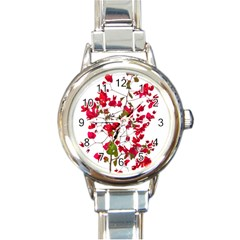 Red Petals Round Italian Charm Watch