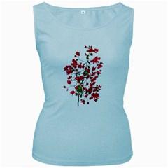Red Petals Women s Tank Top (baby Blue)