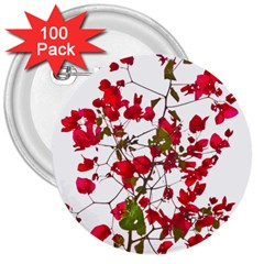 Red Petals 3  Button (100 pack)