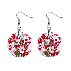 Red Petals Mini Button Earrings