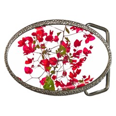 Red Petals Belt Buckle (oval)