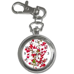 Red Petals Key Chain Watch