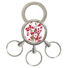 Red Petals 3-Ring Key Chain