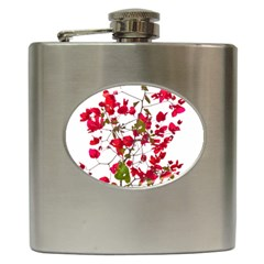 Red Petals Hip Flask