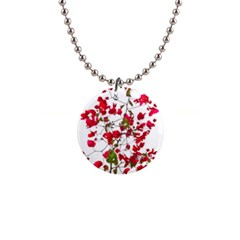 Red Petals Button Necklace