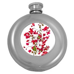 Red Petals Hip Flask (round)