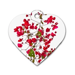 Red Petals Dog Tag Heart (two Sided)