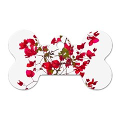 Red Petals Dog Tag Bone (One Sided)