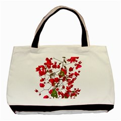 Red Petals Twin-sided Black Tote Bag