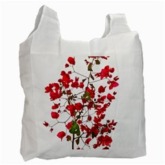 Red Petals White Reusable Bag (two Sides)