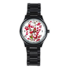 Red Petals Sport Metal Watch (Black)