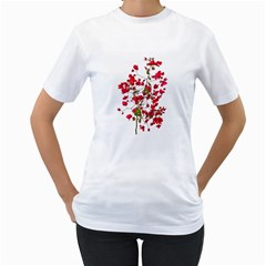 Red Petals Women s T-Shirt (White)