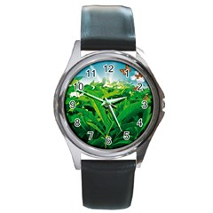 Nature Day Round Leather Watch (silver Rim)