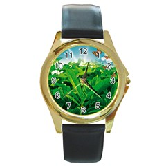 Nature Day Round Leather Watch (gold Rim)