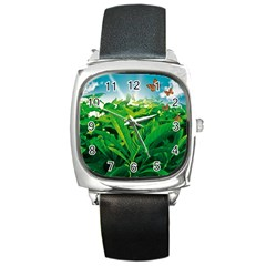 Nature Day Square Leather Watch