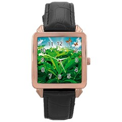 Nature Day Rose Gold Leather Watch