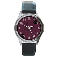 Poster From Postermywall Round Leather Watch (silver Rim)