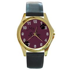 Poster From Postermywall Round Leather Watch (Gold Rim)