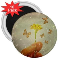 Butterflies Charmer 3  Button Magnet (10 pack)