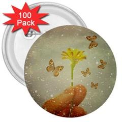 Butterflies Charmer 3  Button (100 Pack)