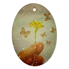 Butterflies Charmer Oval Ornament (two Sides)