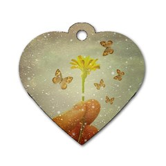 Butterflies Charmer Dog Tag Heart (One Sided)