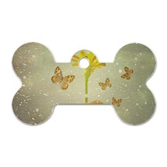 Butterflies Charmer Dog Tag Bone (One Sided)