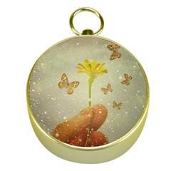 Butterflies Charmer Gold Compass