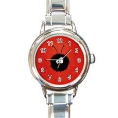 Red Cute Dazzled Bug Round Italian Charm Watch
