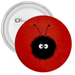 Red Cute Dazzled Bug 3  Button