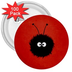Red Cute Dazzled Bug 3  Button (100 pack)