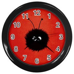 Red Cute Dazzled Bug Wall Clock (Black)