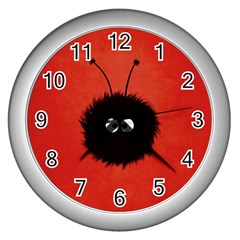 Red Cute Dazzled Bug Wall Clock (silver)