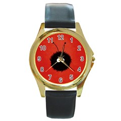 Red Cute Dazzled Bug Round Leather Watch (Gold Rim)