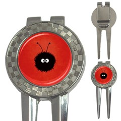 Red Cute Dazzled Bug Golf Pitchfork & Ball Marker