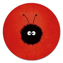 Red Cute Dazzled Bug Magnet 5  (round)