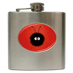 Red Cute Dazzled Bug Hip Flask