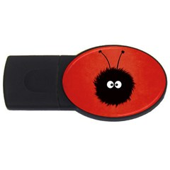 Red Cute Dazzled Bug 2gb Usb Flash Drive (oval)