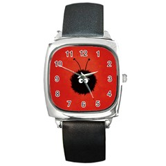 Red Cute Dazzled Bug Square Leather Watch