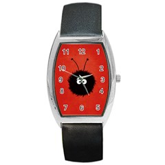 Red Cute Dazzled Bug Tonneau Leather Watch
