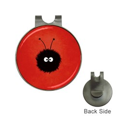 Red Cute Dazzled Bug Hat Clip with Golf Ball Marker