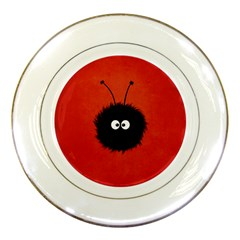 Red Cute Dazzled Bug Porcelain Display Plate