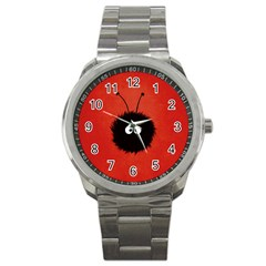 Red Cute Dazzled Bug Sport Metal Watch