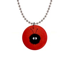 Red Cute Dazzled Bug Button Necklace