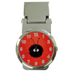 Red Cute Dazzled Bug Money Clip with Watch