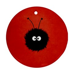 Red Cute Dazzled Bug Round Ornament (two Sides)